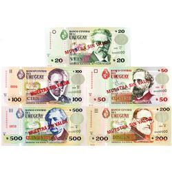 Banco Central del Uruguay. 1999-2003. Lot of 5 Specimen Notes.