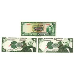 Banco Central de Venezuela. 1972-1979. Lot of 3 Specimen Notes.
