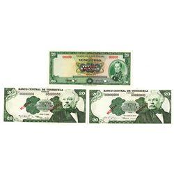 Banco Central de Venezuela. 1972-1979. Lot of 3 Specimen Notes.