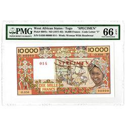 Banque Centrale des Etats de L'Afrique de L'Ouest. ND (1977-1992). Specimen Banknote.