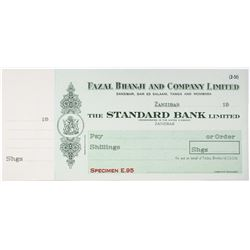 Fazal Bhanji and Co. Ltd., 1920-40's Standard Bank Ltd. Specimen Check