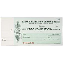 Fazal Bhanji and Co. Ltd., 1920-40's Standard Bank Ltd. Specimen Check