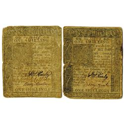 Delaware, January 1, 1776, 1 Shillings, Fr. DE-73, Issued Colonial Note Pair.