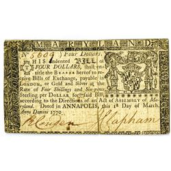 Maryland, 1st March 1770, $4 Colonial Currency