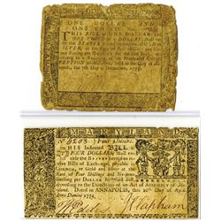 Maryland, April 10, 1774, $4 and December 7, 1775, $1 Colonial Banknote Pair.