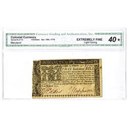 Maryland, April 10, 1774, $8 Colonial Currency