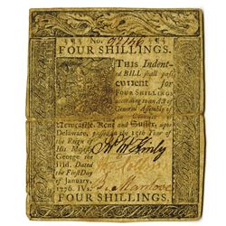 Delaware, January 1, 1776, 4 Shillings, Fr. DE-76, Issued Colonial Note