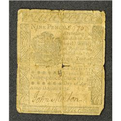 Pennsylvania, April 3, 1772, 9 Pence, John Morton, Declaration of Independence Signer Signature, Fr.