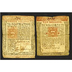 Pennsylvania, March 20, 1771, 10 Shillings, Fr#PA-147, and 20 Shillings, Fr#PA-149, Issued Colonial