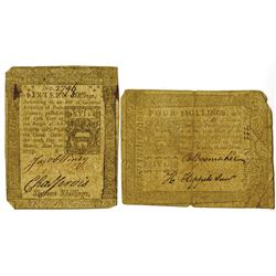 Pennsylvania, March 20, 1773, 4 Shillings, Fr. PA-159, and 16 Shillings, Fr.PA-162, Issued Colonial