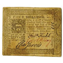 Pennsylvania, March 20, 1773, 4 Shillings, Fr. PA-159, Issued Colonial Note