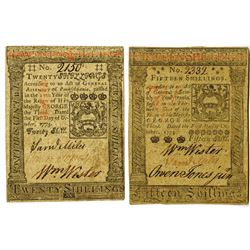 Pennsylvania, October 1, 1773, 15 Shillings, Fr#PA-168 and 20 Shillings, Fr#PA-169 Colonial Note Pai