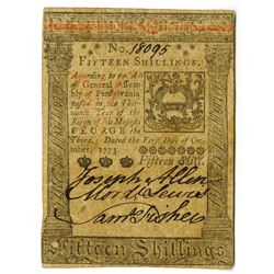 Pennsylvania, October 1, 1773, 15 Shillings, Fr#PA-168 Colonial Note.