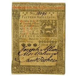 Pennsylvania, October 1, 1773, 15 Shillings, Fr#PA-168 Colonial Note.