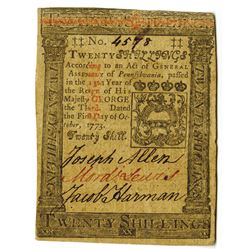 Pennsylvania, October 1, 1773, 20 Shillings, Fr#PA-169 Colonial Note.