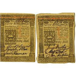 Pennsylvania, October 1, 1773, 50 Shillings, Fr#PA-170 Colonial Note Pair.