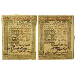 Pennsylvania, October 1, 1773, 50 Shillings, Fr#PA-170 Colonial Note Pair.