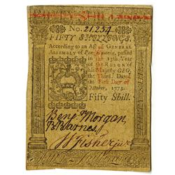 Pennsylvania, October 1, 1773, 50 Shillings, Fr#PA-170 Colonial Note.