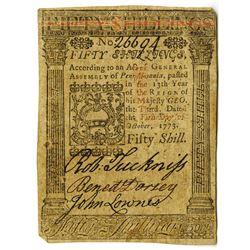Pennsylvania, October 1, 1773, 50 Shillings, Fr#PA-170 Colonial Note.