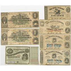 State of Alabama, 1863 Obsolete Banknote Sextet.