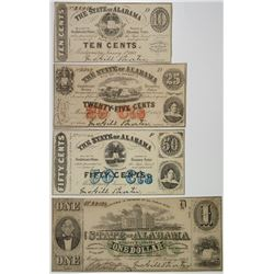 State of Alabama, 1863, Quartet of Issued Banknotes.