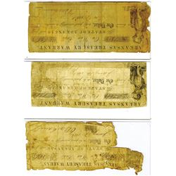 Arkansas Treasury Warrant, 1861-1862 Obsolete Banknote Trio
