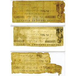 Arkansas Treasury Warrant, 1861-1862 Obsolete Banknote Trio