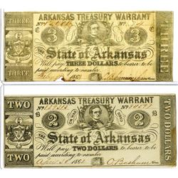 Arkansas. State of Arkansas, 1862 & 1863 Obsolete Banknote Pair, The 1863 Note has an Inverted Back.