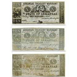 Arkansas Treasury Warrant, 1863-1864 Obsolete Banknote Trio