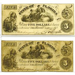 State of Florida, 1862 Obsolete Banknote Pair