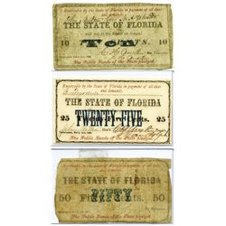 State of Florida, 1863 Obsolete Scrip Note Trio