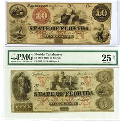 State of Florida, 1864 Obsolete Banknote Pair