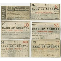 Bank of Augusta 1863 Obsolete scrip Note Quintet & Mechanics S&L Assoc.