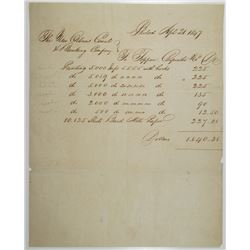 New Orleans Canal & Banking Co. 1847 Printing Order Form by Toppan, Carpenter & Co.
