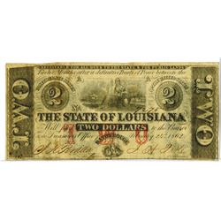 Louisiana. State of Louisiana, 1862, Obsolete Banknote