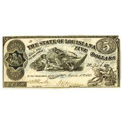 Louisiana. State of Louisiana, 1863, Obsolete Banknote