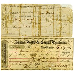 James Robb & Comp., Bankers, 1853 2nd of Exchange and 1897 New Orleans for Copy of Birth Registratio