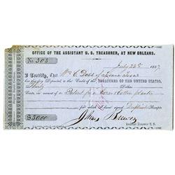 "Office of the Assistant U.S. Treasurer, at New Orleans, ""Original Deposit Certificate"", 1857 For Pat"