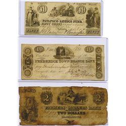 Maryland, ca. 1837-1841 Obsolete Banknote Trio