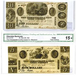 Maryland. Chesapeake & Ohio Canal Co., 1840 Obsolete Banknote Pair