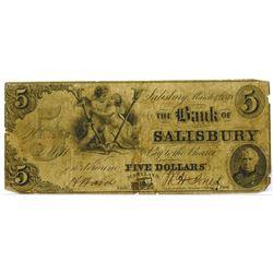 Maryland. Bank of Salisbury, 1848, Obsolete Banknote