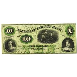 Maryland. Allegany County Bank, 1862, Obsolete Banknote