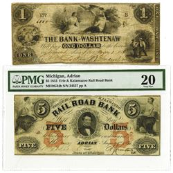 Michigan, ca. 1853 & 1854 Obsolete Banknote Pair