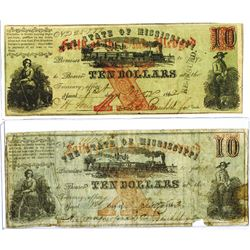(Jackson), MS- State of Mississippi $10 Nov. 1, 1862 Cr. 35A and Cr. 35B (Re-issued)