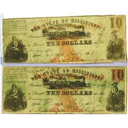 (Jackson), MS- State of Mississippi $10 Nov. 1, 1862 Cr. 35A Obsolete Banknote Pair.