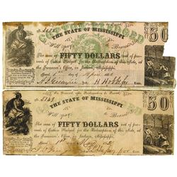 Mississippi. State of Mississippi, 1862 Obsolete Banknote Pair