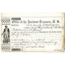 "Office of the Assistant U.S. Treasurer, at St. Louis, MO., ""Original Deposit Certificate"", 1858 For"