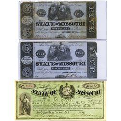 State of Missouri, 1862-1874 Obsolete Banknote Trio