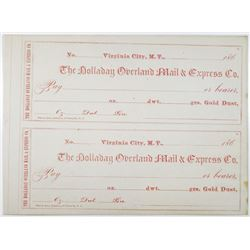 Holladay Overland Mail & Express Co. 1860s Pair of Unissued & Uncut Gold Dust Payments