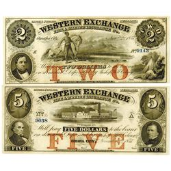 Nebraska. Western Exchange Fire & Marine Insurance Co., 1857 Obsolete Banknote Pair